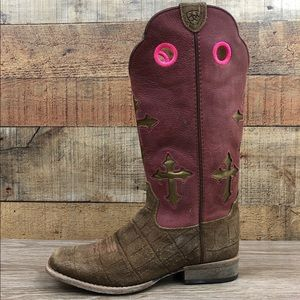 Ariat girls cowboy boots pink brown cross square